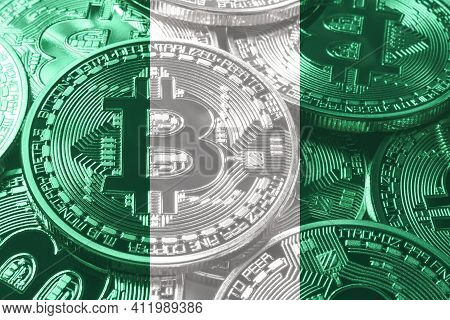 Nigeria Bitcoin Flag, National Flag Cryptocurrency Concept Black Background