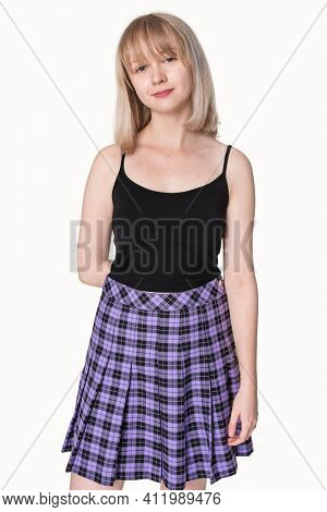 Blonde girl in black tank top and purple pleated skirt grunge fashion