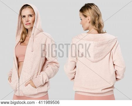Sporty woman wearing workout outfit for apparel ad