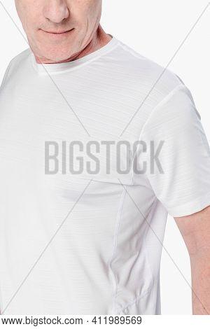 Man wearing white t-shirt apparel close-up
