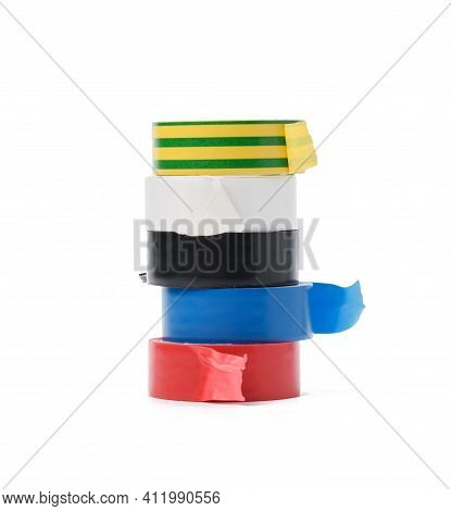 Multicolored Rubber Insulating Tape, Skeins Isolated On White Background, Close Up