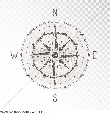 Vector Illustration With A Vintage Textured Compass Or Wind Rose And Grunge Texture Elements On Tran