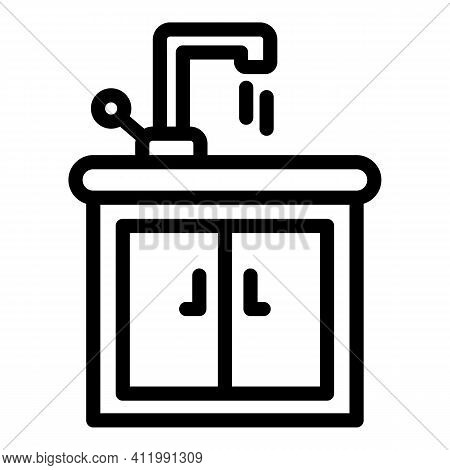 Sink Cabinet Icon. Outline Sink Cabinet Vector Icon For Web Design Isolated On White Background