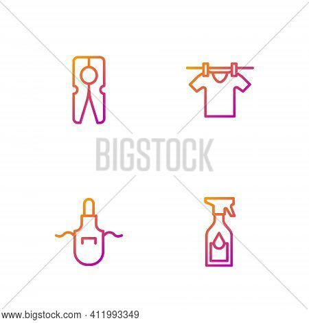 Set Line Cleaning Spray Bottle, Kitchen Apron, Clothes Pin And Drying Clothes. Gradient Color Icons.