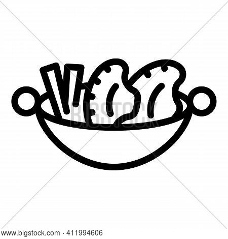 Wok Menu Cuisine Icon. Outline Wok Menu Cuisine Vector Icon For Web Design Isolated On White Backgro