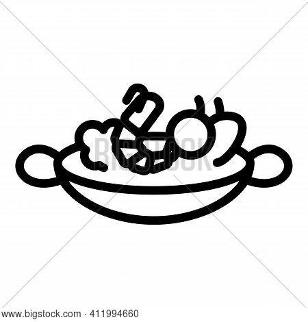 Wok Menu Hot Shrimp Icon. Outline Wok Menu Hot Shrimp Vector Icon For Web Design Isolated On White B