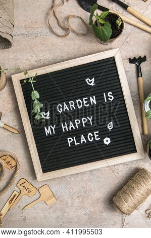 Letter Board With Text Garden Is My Happy Place. Planting Seeds In Biodegradable Paper Eco-friendly