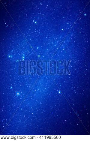 Night Starry Sky. Stars And Nebula. Blue Vertical Space Background