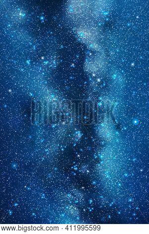 Night Starry Sky. Milky Way, Stars And Nebula. Space Blue Background