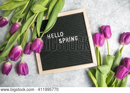 Text  Hello Spring On  Letter Board And Bouquet Of  Purple Tulips Flowers. Concept Springtime Mood A
