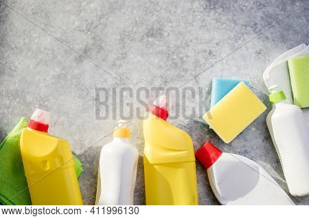 Cleaning Products. Plastic Chemical Detergent Bottles And Equipment, Domestic Household Or Business