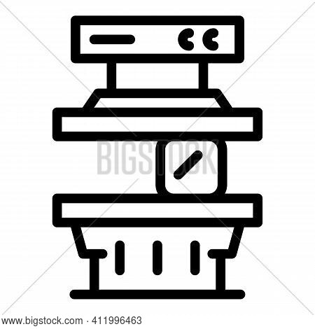 Work Press Machine Icon. Outline Work Press Machine Vector Icon For Web Design Isolated On White Bac