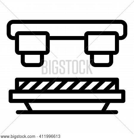 Robotic Press Machine Icon. Outline Robotic Press Machine Vector Icon For Web Design Isolated On Whi