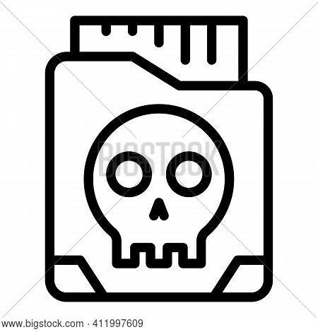 Malware Folder Icon. Outline Malware Folder Vector Icon For Web Design Isolated On White Background