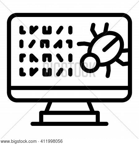 Monitor Malware Icon. Outline Monitor Malware Vector Icon For Web Design Isolated On White Backgroun