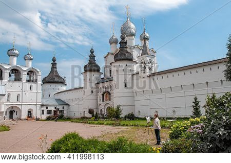 July 29, 2020. The Golden Ring Of Russia. The Kremlin Wall Of The Ancient Rostov Kremlin. Assumption
