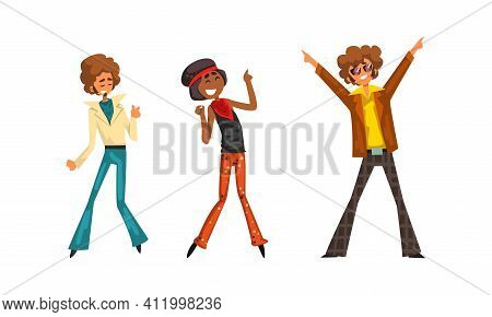 Male And Female Pop Musicians Characters Set, Performer Singers Wearing 70s Retro Fashion Style Clot