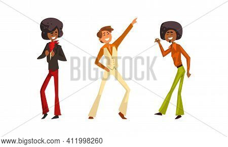 Retro Pop Musicians Set, Performer Singers Characters Wearing 70s Fashion Disco Style Clothes Cartoo