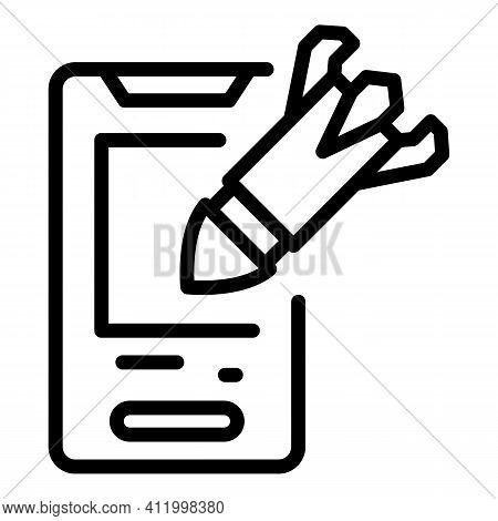 Smartphone Malware Attack Icon. Outline Smartphone Malware Attack Vector Icon For Web Design Isolate