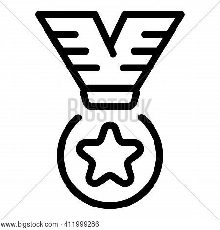 Star Medal Icon. Outline Star Medal Vector Icon For Web Design Isolated On White Background