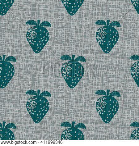 Linocut Print Strawberries Linen Vector Seamless Pattern Background.teal Grey Fruit Motifs Blended O