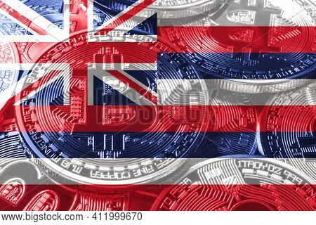 Hawaii Bitcoin Flag, Hawaii Cryptocurrency Concept Background