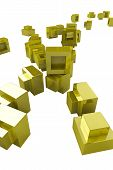 Small pile of golden 3d blocks vertical alignment poster