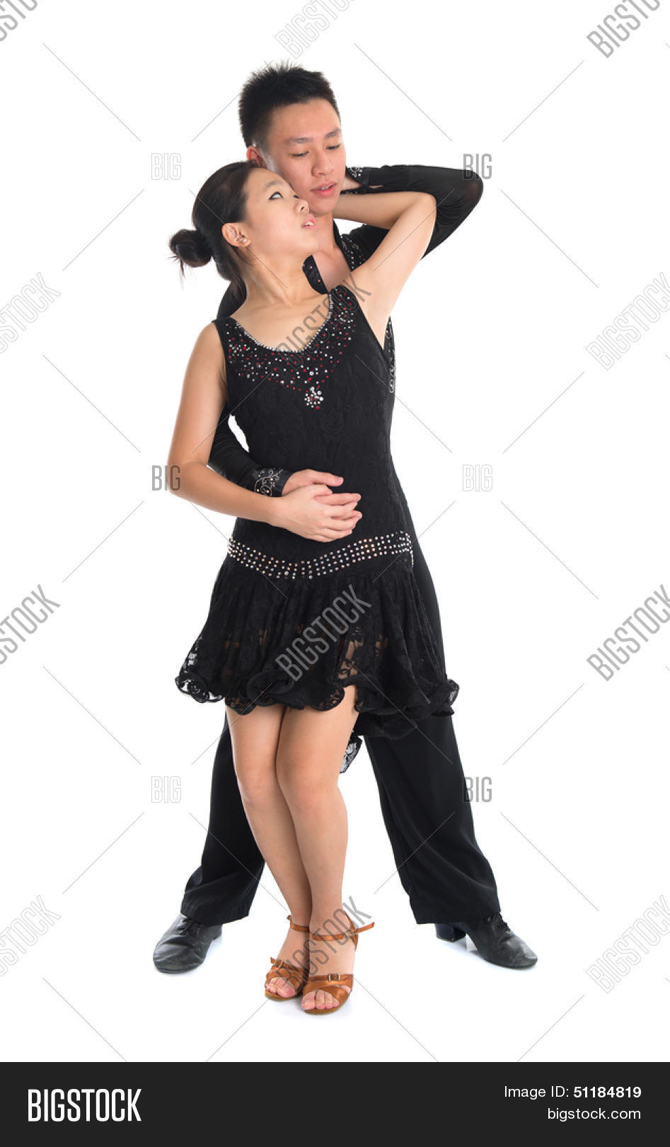 Modern Young Asian Teens Couple Latin Dancers Dancing In Front Of The Studio Background Full