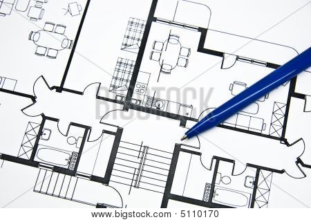 Plan Of Apartment With A Pencil