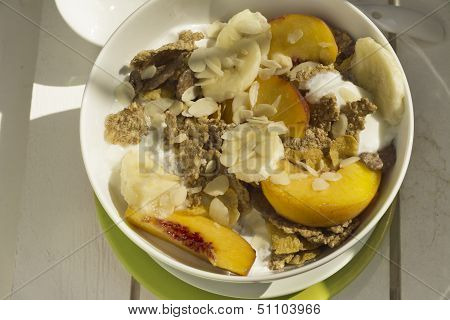 Breakfast Cereals And Fruit On White Wood