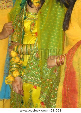Pakistani Bride At Her Mehndi