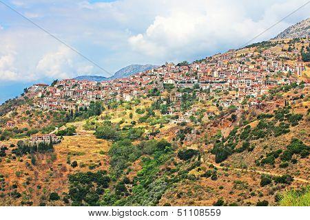 Famous Resort Town Of Arachova, Boeotia, Greece