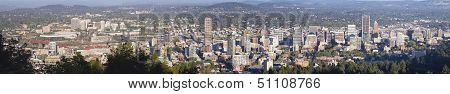 Portland Oregon Cityscape with Scenic Day View of Downtown Buildings Willamette River and Bridges Panorama poster