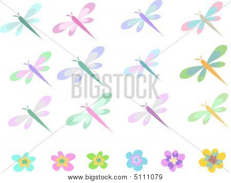 Dragonfly And Flowers Collection