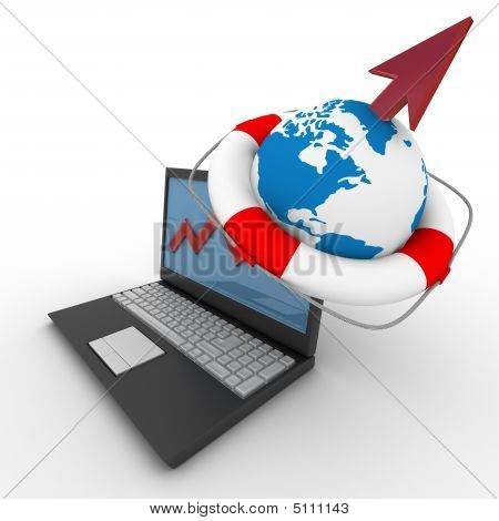 Laptop. Concept Of Financial Growth. 3D Image.