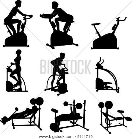 Female Excercise Silhouettes