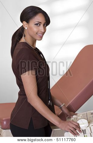 Female Nurse Using Ultrasound Machine.