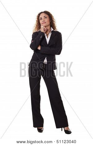 Business Woman Standing, Looks Up In Thought.