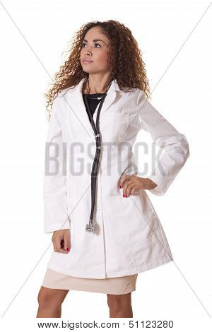 Female Physician With Stethoscope Looking To The Side.