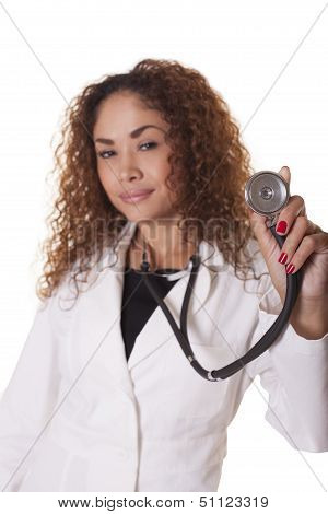 Female Health Care Worker Holds Out A Stethoscope.