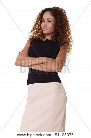 Confident Businesswoman On White Background.