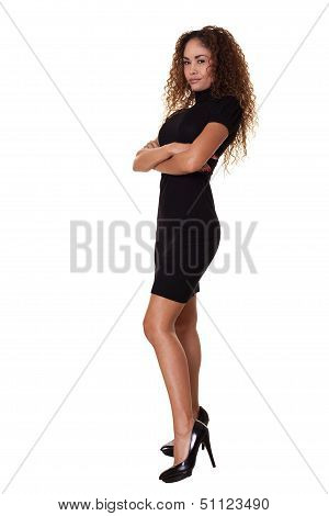 Confident Woman Standing Isolated White Background.