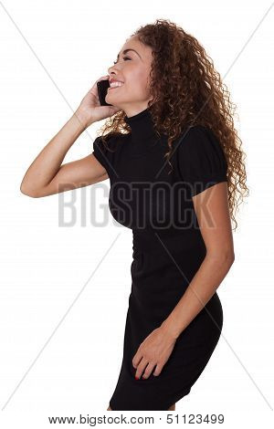 Beautiful Woman Laughs While Talking On Phone.