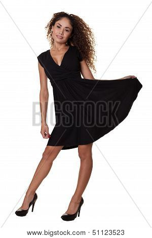 Ethnic Woman Dancing Isolated White Background.
