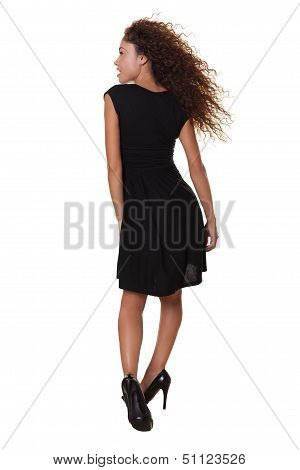 Beautiful Woman Hair Blowing In Wind White Background.