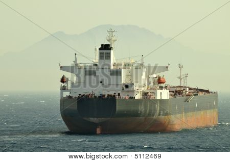 Tanker - Ship Designed For Transporting Grude Oil With Anchor