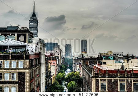 Aerial View of Mexico City as seen from the Metropolitan Cathedral. poster