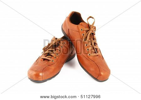 Brown Leather Men's Shoes On White Background.
