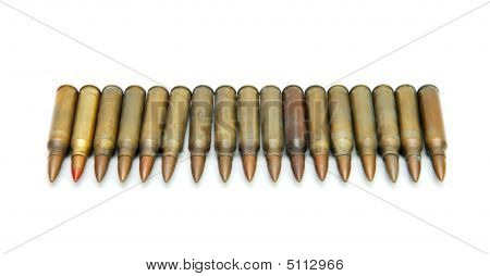 Row Of  M16 Rifle Cartridges Isolated