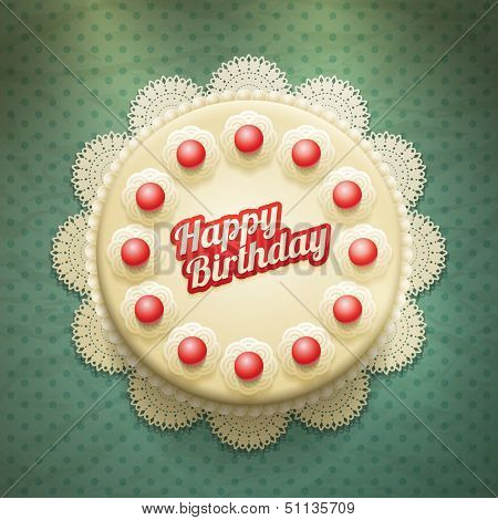 Vector white birthday cake with cream and cherries. View from above. Elements are layered separately in vector file.